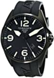 Torgoen Swiss Men's T10301 Black Ion-Plated 3-Hand Analog Rubber Strap Watch