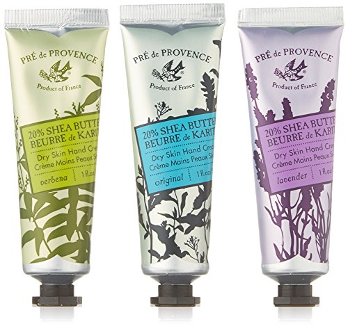 Pre de Provence Floral Meadow Hand Cream Gift Box, Set of 3, Verbena, Original, and Lavender 20% Shea Butter Hand Cream