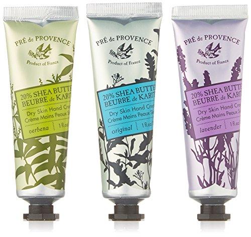 Pre de Provence Floral Meadow Hand Cream Gift Box, Set of 3, Verbena, Original, and Lavender 20% Shea Butter Hand Cream