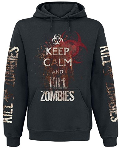 Keep Calm And Kill Zombies Felpa con cappuccio nero XXL