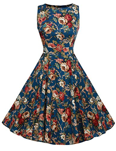 ACEVOG Women's Vintage Slim Retro Evening Cocktail Party Dress Lake Blue XL