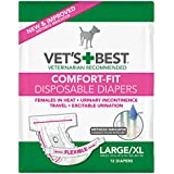 Veterinarian's Best Comfort-Fit Disposable Female Diapers (Pack of 12), Large/X-Large