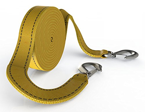 Recovery Tow Strap with Hooks - Heavy Duty 20 Foot Long 10000 Pound Towing Capacity with Two D-Ring Shackles, Perfect for Removing Bushes or Tree Branches or Pulling a Car, Trucks, Boat, or SUV (Ford Ranger Tow Mirrors compare prices)