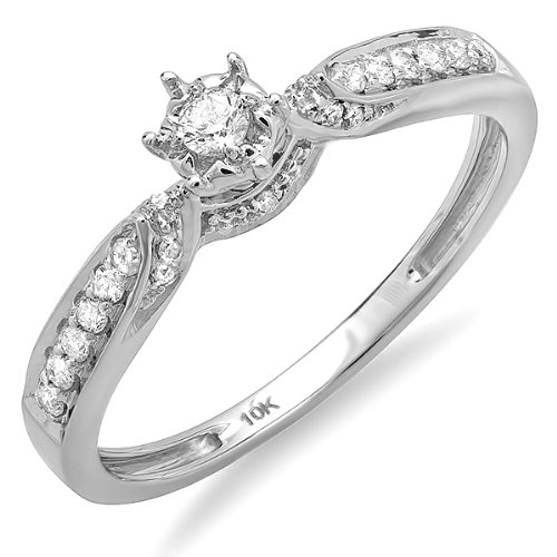 0.20 Carat (ctw) 10k White Gold Round Diamond Ladies Bridal Promise Engagement Ring 1/5 CT