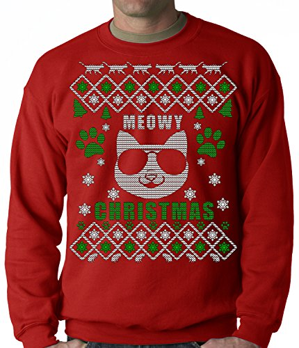 "Meowy Christmas - ""Cool Cat with Glasses"" Ugly Christmas CREWNECK, Red, Medium"