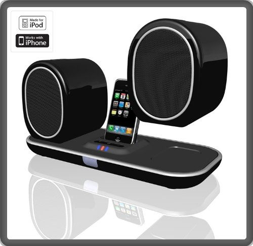 E-Core PartyMate Wireless iPhone  &  iPod Docking  &  Charging Speaker With Two Wirelessly Charging Speakers - USB Transmitter To Connect To Any PC - 12W OutPut - Transmit a wireless 2.4G signal over 15 Meters