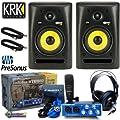 KRK RP8 G2 Rokit Powered Studio Monitor (Pair) + PreSonus AudioBox Studio + 2 Samson 18 Feet XLR Cables - Bundle