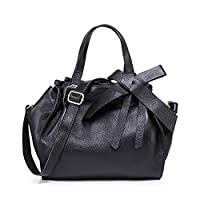 Fineplus New Fashion Womens Bow Full Grain Leather Totes Handbag