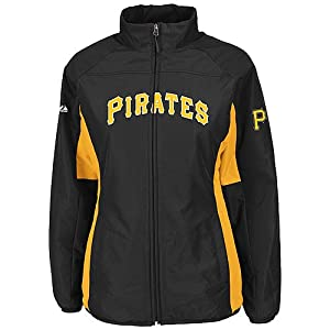 Pittsburgh Pirates Black Ladies Authentic Double Climate On-Field Jacket by Majestic by Majestic