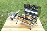 CORCOPI バーベキューコンロ 折りたたみ ステンレス コンパクト 持ち運び BBQ グリル バレル型 シルバー
