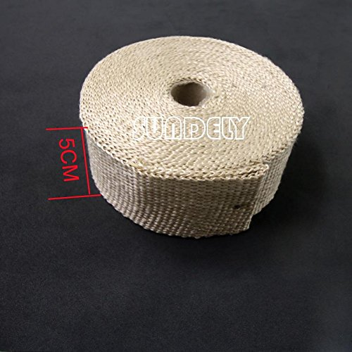 SUNDELY® Cream Color Glassfiber Exhaust Pipe Header Heat Wrap Resistant Downpipe Tape Roll 2in X 49ft (5cm X 15m) + 5 Metal Ties 2