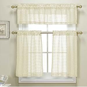3 Piece Sheer Kitchen Curtain Set Woven Check Design 1 Valance 2 Tier Panels