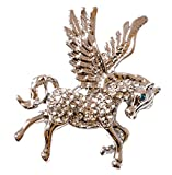Silver Tone Flying Pegasus Horse with Blue Eyes Brooch Pin Badge (Organza Gift Pouch Included).