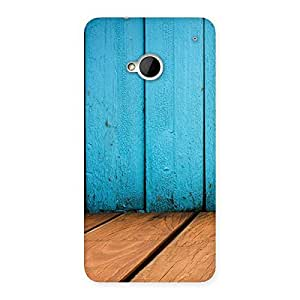 Wood Cyan Back Case Cover for HTC One M7