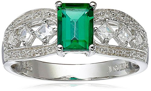 Sterling Silver Emerald-Cut Created Emerald Ring