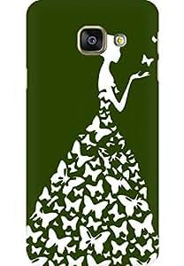 AMEZ designer printed 3d premium high quality back case cover for Samsung Galaxy A3 2016 (dark green white girl princess)