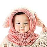 IntiPal うさぎちゃん風 ニット帽 ニット帽子 ベビー キッズ 赤ちゃん 子 子供 用 かわいい 防寒 (ピンク)