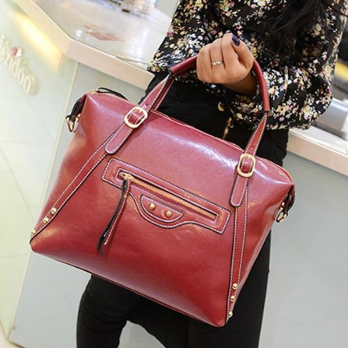 New Retro Pu Motorcycle Large Shoulder Handbag