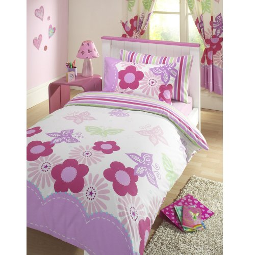 GIRLS REVERSIBLE SINGLE DUVET QUILT COVER BEDDING SET PINK LILAC SUNNY DAYS NEW