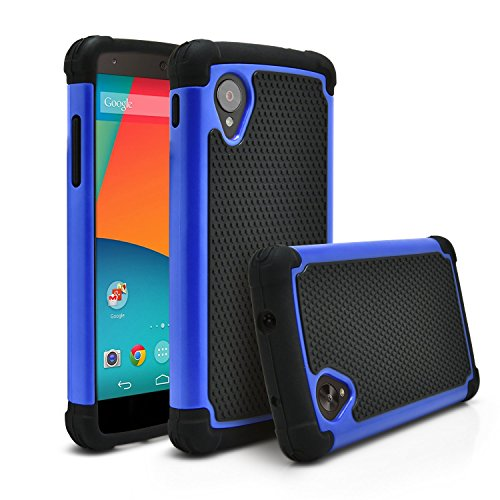 Nexus 5 Case, MagicMobile [Dual Armor Series] Hybrid Impact Resistant Google Nexus 5 Shockproof Tough Case Rugged Hard Plastic + Rubber Silicone Skin Protective Case for LG Nexus 5 - Black / Blue (Nexus 5 Light Blue Wallet Case compare prices)