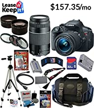 Canon EOS Rebel T5i 18.0 MP CMOS Digital Camera with EF-S 18-55mm f/3.5-5.6 IS STM Zoom Lens + EF 75-300mm f/4-5.6 III Telephoto Zoom Lens + Telephoto & Wide Angle Lenses + 12pc Bundle 32GB Deluxe Accessory Kit