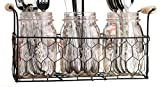 Three (3) Clear Glass Mason Jars in Wire Tray with Wooden Handles ~ Flatware Caddy Organizer Set for Home & Parties