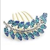 Skyllc® Nuevo bronce chapado en oro precioso videoclip Moda Blue Leaves Crystal Cabello