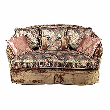 6Ft Queen Ann Floral Paisley Upholstered Love Seat Settee w/Pillows