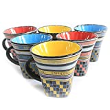 Amigos Ceramic Espresso Coffee Mugs - Set Of 6 by Merahomestore