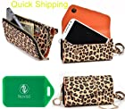 CROSS BODY WRISTLET/WALLET SMARTPHONE HOLDER|LEOPARD PRINT | UNIVERSAL FIT FOR Boost Mobile LG Venice NoContract Phone