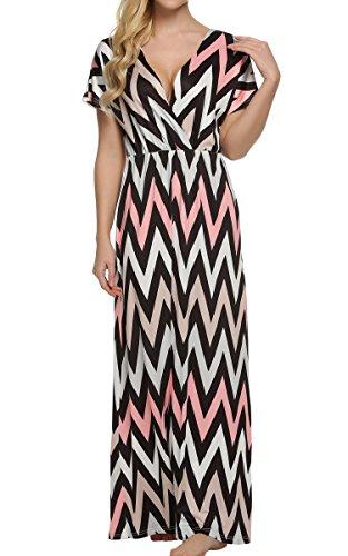 ACEVOG Women Boho Short Sleeve Chevron Smocked Waist Tiered Renaissance Summer Maxi Dress