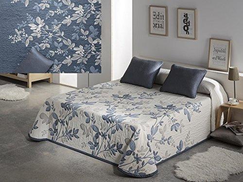 Textilhome - Colcha piqué Reversible IDA 105 cm. Color Azul