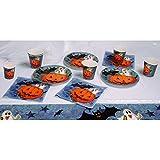 Boland 74480-Juego de Mesa de Halloween Pumpkin & Friends de 6 Platos Llanos, 6 Unidades, 6, Servilletas y 1 Mantel, Dise�o de Flores, Multicolor