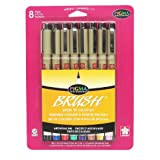 Sakura 38062 8-Piece Pigma Assorted Colors Brush Pen Set