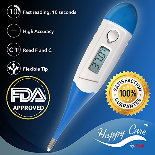Best 2016 FDA Fast 10 Sec Reading Digital Medical Thermometer for Oral, Rectal, Axillary armpit Underarm Body Temperature by Enji, clinical Detecting Fever in Infant, Babies, Children, Adults and Pets (Syrup Dispenser Station compare prices)
