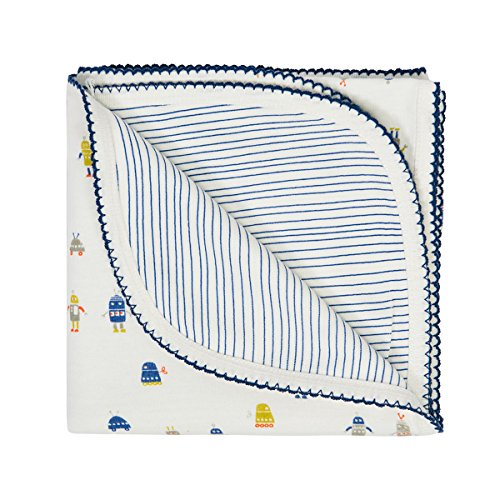 Auggie Robot March Cobalt Baby Blanket, Cobalt Blue - 1
