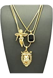 Faux Onyx Stone, Floating Angel & King Lion Pendant Set w/ Multi Length Box Chains in Gold-Tone