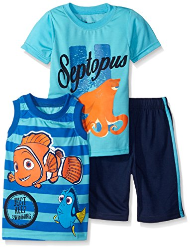 Disney Boys 3 Piece Finding Dory Just Keep Swimming Short Set