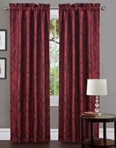 Lush Decor Flower Texture Window Treatment Curtain Panel, 37 by 84-Inch, Red, Set of 2