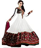 Livaaz Womens Georgette Anarkali Unstitched Dress Material (Sf100898 _White)