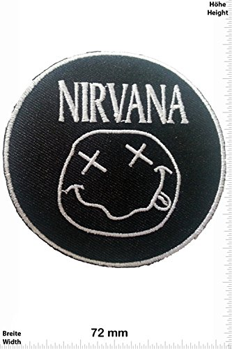 Patch - Nirvana - Simley - silver - MusicPatch - Rock - Chaleco - toppa - applicazione - Ricamato termo-adesivo - Give Away