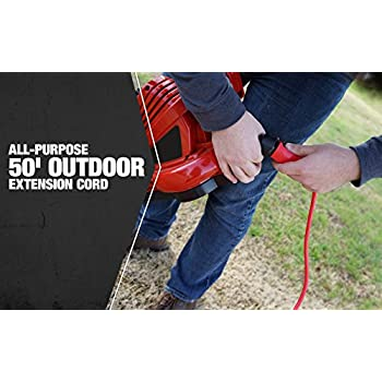 Coleman Cable 02408 14/3 SJTW Vinyl Outdoor Extension Cord, 50-Foot, Red