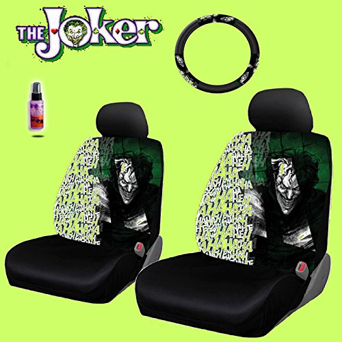 New Design 6 Pieces DC Comic Joker Car Seat Covers and Steering Wheel Cover Set with Travel Size Purple Slice (Car Seat Covers Harley Quinn compare prices)