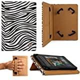 VanGoddy Mary Portfolio Self Stand Travel Case For Lenovo IdeaTab A1000 Tablet (Zebra Print)