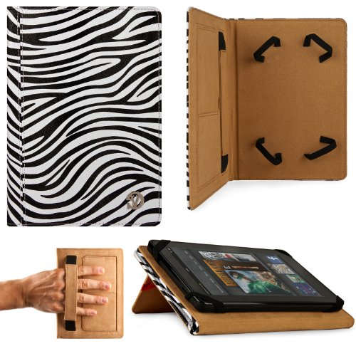 BLACK WHITE Zebra Hard Cover Portfolio Jacket Mary Case, Stand Alone, Lightweight, Protective Slimline Sturdy, Flip Folio Book Style Design For Amazon Kindle Fire 7″ LCD Display, Wi-Fi Android Tablet