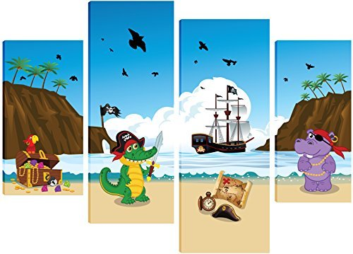 pirate-captain-croc-and-shipmate-hippo-claiming-treasure-island-design-canvas-art-for-childrens-bedr
