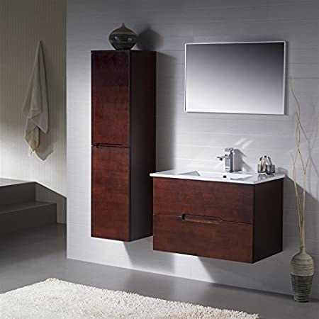 Wall Mount Bathroom Vanity Elton 32 Dark Walnut with Porcelain Sink Top