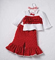 Mud Pie Baby-girls Infant Santa Minky 2 Piece Pant Set, Red, 2T-3T