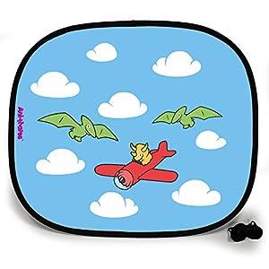 123t ANI-MATES DINO FLYING HIGH PLAIN Baby/Child Vehicle Sunshade x 2