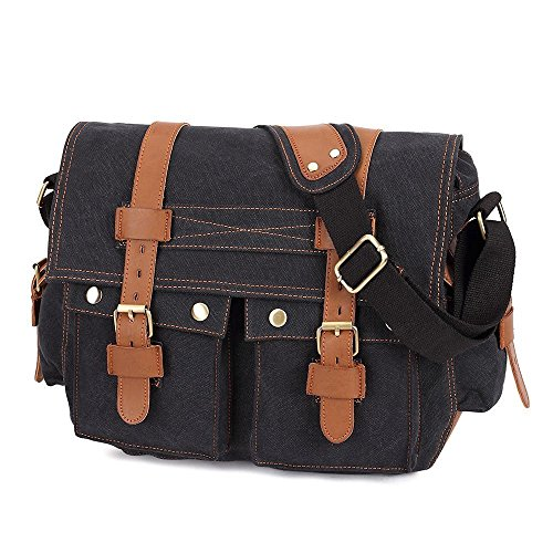 eBoTrade Men's Trendy Colonial Italian Style Messenger Bag with Leather Straps Black (Messenger Bag Jack Bauer compare prices)